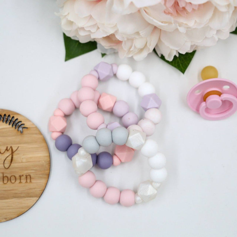 Triple Toned Silicone Teether-Wooden Teether-CMC Gold