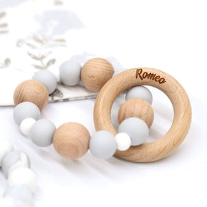 Two-Toned Silicone Teether With Engraved Personalised Beech Wood Ring-Wooden Teether-CMC Gold