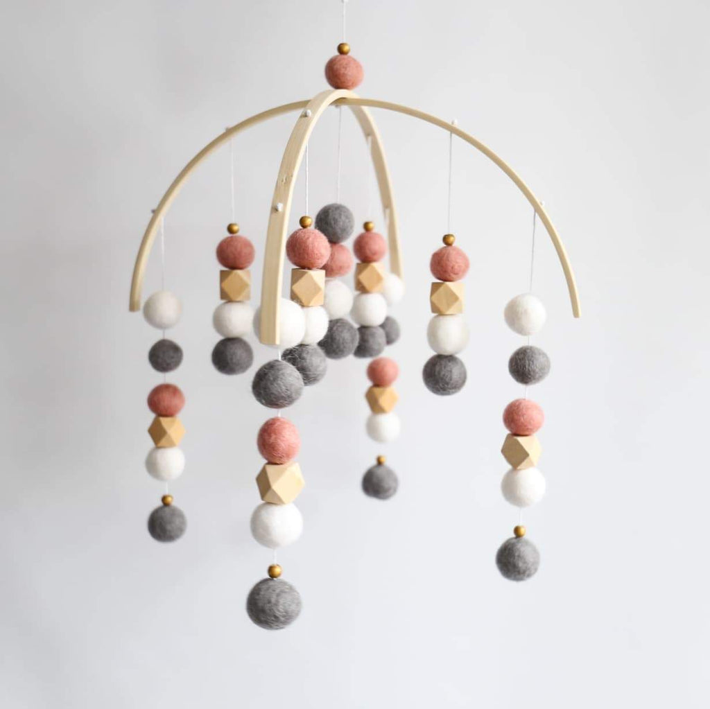 White, Dark Grey, Dark Peach, Raw Hex, Gold Felt Ball Mobile-Felt Ball Mobile-CMC Gold