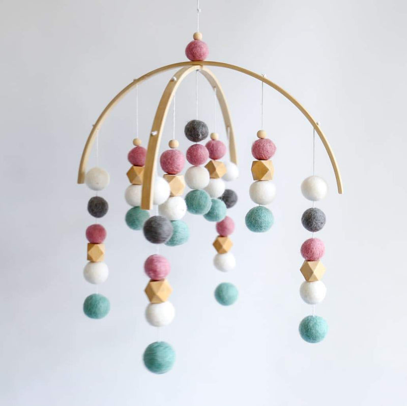 White, Dark Grey, Dusty Pink, Raw Hex, Mint Felt Ball Mobile-Felt Ball Mobile-CMC Gold