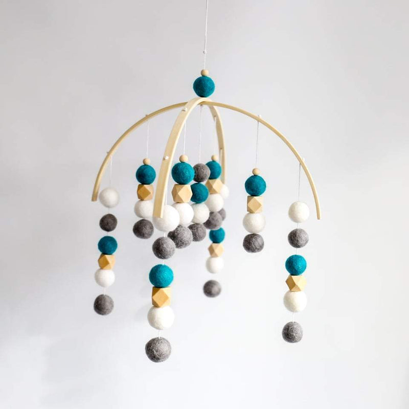 White, Dark Grey, Turquoise, Raw Hex, Felt Ball Mobile-Felt Ball Mobile-CMC Gold