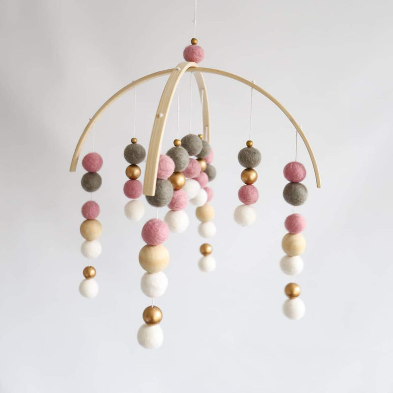 White, Grey, Dusty Pink, Gold, Raw Round Felt Ball Mobile-Felt Ball Mobile-CMC Gold