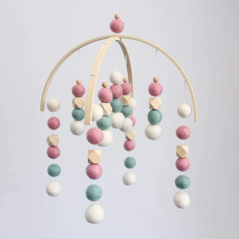 White, Mint, Dusty Pink, Raw Hex Felt Ball Mobile-Felt Ball Mobile-CMC Gold