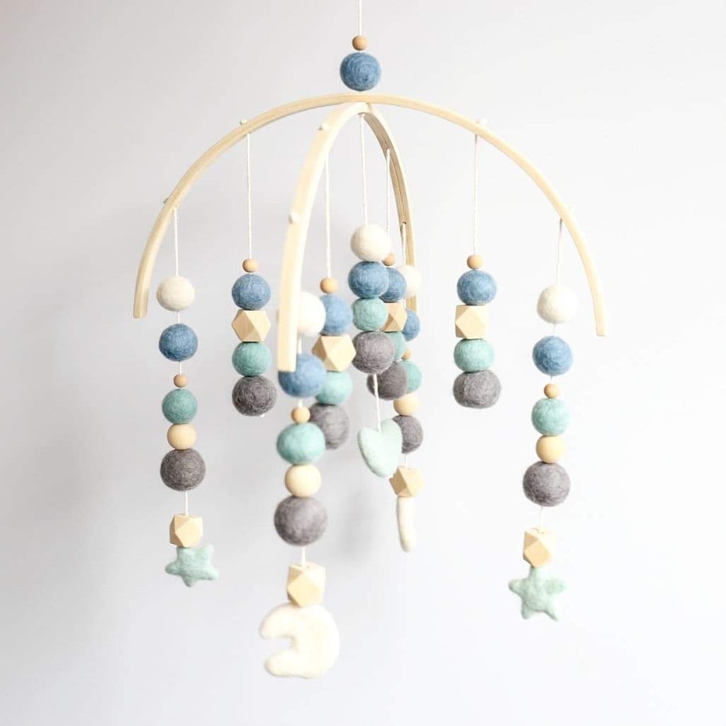 White, Mint, Lagoon Blue, Dark Grey, Raw Hex & Round Heart, Stars, Moon Felt Ball Mobile-Felt Ball Mobile-CMC Gold