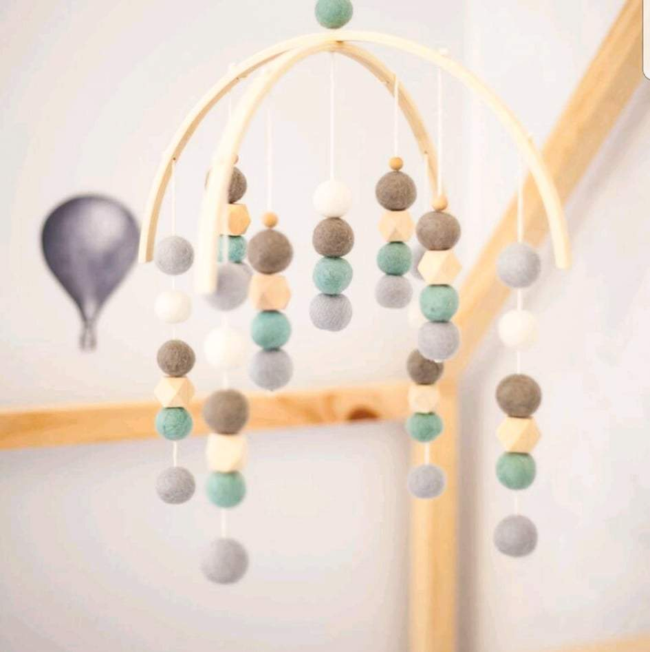 White, Powdered Blue, Mint, Grey & Raw Hex Felt Ball Mobile-Felt Ball Mobile-CMC Gold