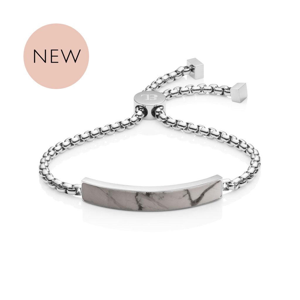 Marble Luxe Chain Bracelet (Silver/Grey)