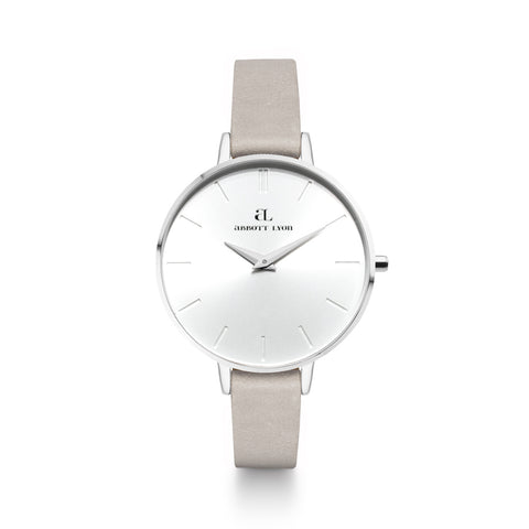 Grey Leather Silver Minimale 38 (Silver/White)