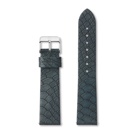 Oxford Blue Gator Leather 40 Strap (Silver)