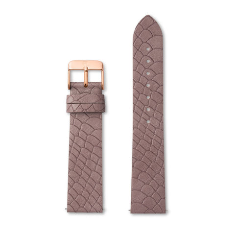 Mauve Pink Gator Leather 40 Strap (Rose Gold)