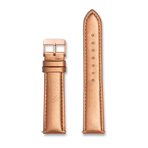Metallic Rose Gold Leather 40 Strap