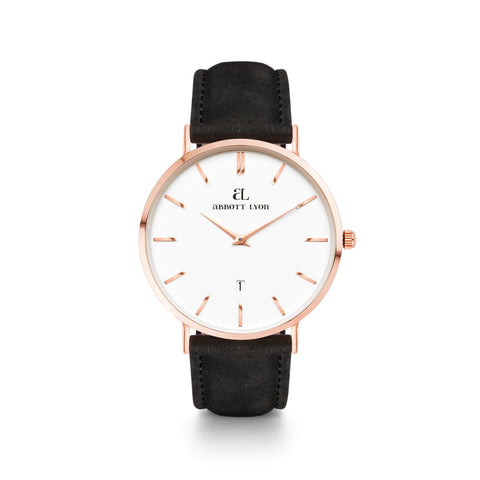 Black Leather Rose Gold Kensington 40 (Rose/White)
