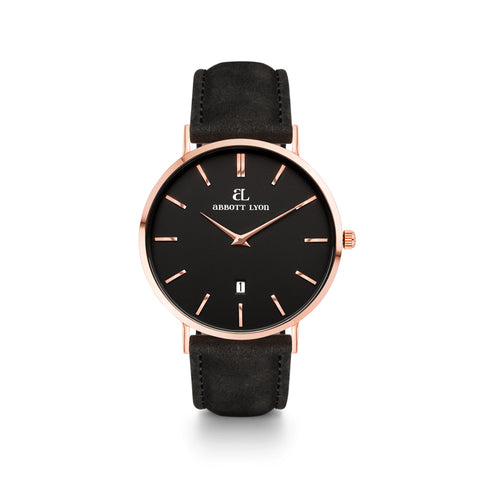 Black Leather Kensington 40 (Rose/Black)