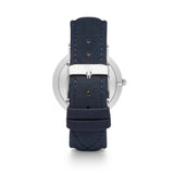 Navy Leather Kensington 40 (Silver)