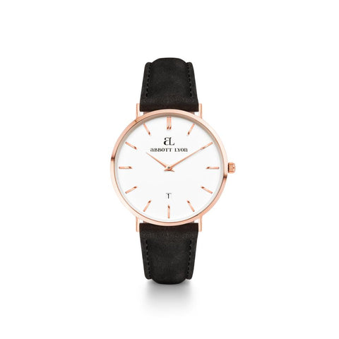 Black Leather Rose Gold Kensington 34 (Rose/White)