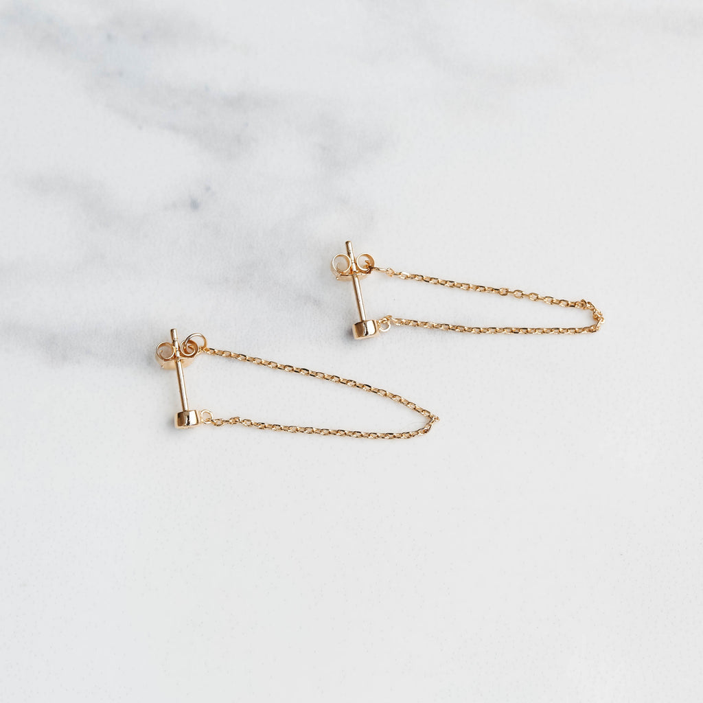 Chain cz earrings