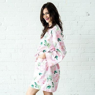 Pink Watercolor Floral Silky Robe On Pink Personalize It!