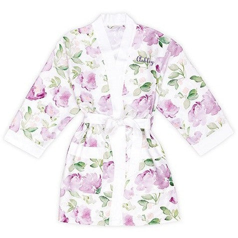 Lavender Watercolor Floral Silky  Robe On White