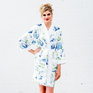 Blue Watercolor Floral Silky Robe On White