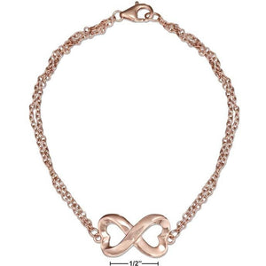 "STERLING SILVER 7"" ROSE COLORED HEART INFINITY KNOT BRACELET"