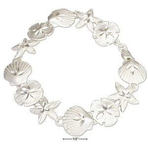 "STERLING SILVER 8"" ASSORTED SEA SHELL LINK BRACELET"