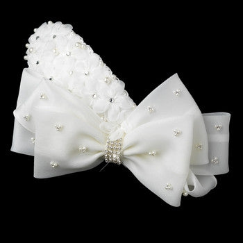 New Item!! Silver Ivory Pearl & Rhinestone Accented Bow Hair Clip