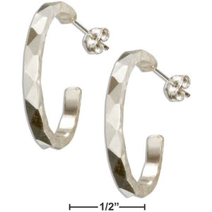STERLING SILVER FACETED DESIGN HAMMERED 23MM 3/4 HOOP EARRINGS ON POSTS