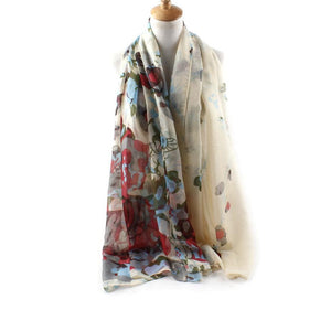 90*180cm Long Chiffon scarves 1PC Floral style flowers Fashion Women Multiple Colour Shawl Silk Printed Scarves