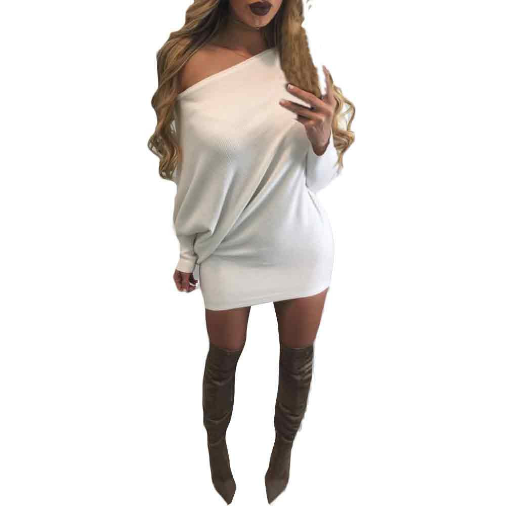New Sexy Women Winter Dresses Womens Ladies long sleeves Strapless Bat sleeve Knitting Slim Sweater White Dress