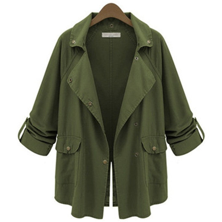 New 2016 Autumn Women Jacket With Button Army Green Casual Retro Style Outwear Jackets Restoring Pocket Women Basic Coats