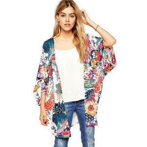 Autumn Coat Women Elegant Casual Floral Print Kimono Loose Cardigan Chiffon Tops Blouse Chiffon Cape Coat Women #LYW