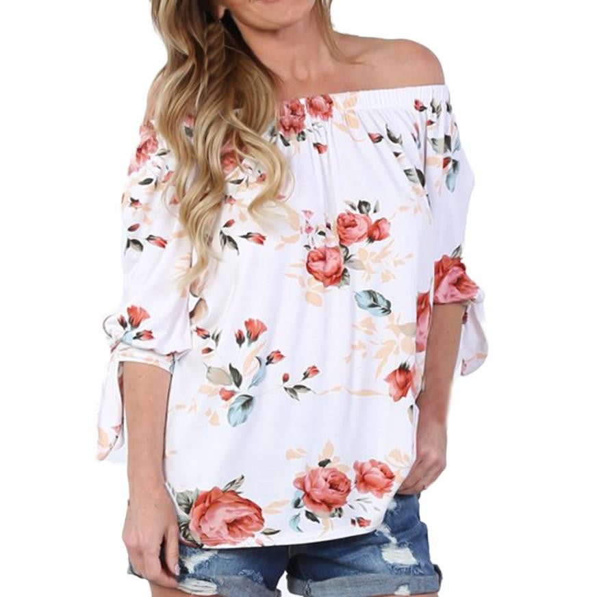 Fashion Off Shoulder Blouse 2017 Sexy Women Floral Printed Blusa Casual Half Sleeve Tops Slash neck Steet style White Shirt