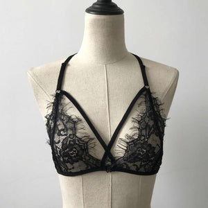 2017 New Arrival Lace Bra Top Sexy Women Floral Bralette Bustier Crop Top Sheer Triangle Wire Free Bra Shirt Vest