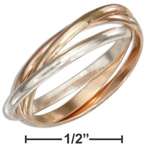 STERLING SILVER AND 12 KARAT ROSE GOLD FILLED THREE BAND SLIDE RING