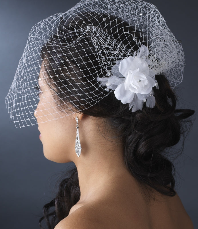 Single Layer Russian Birdcage Face Veil Scattered with Sparkling Rhinestones