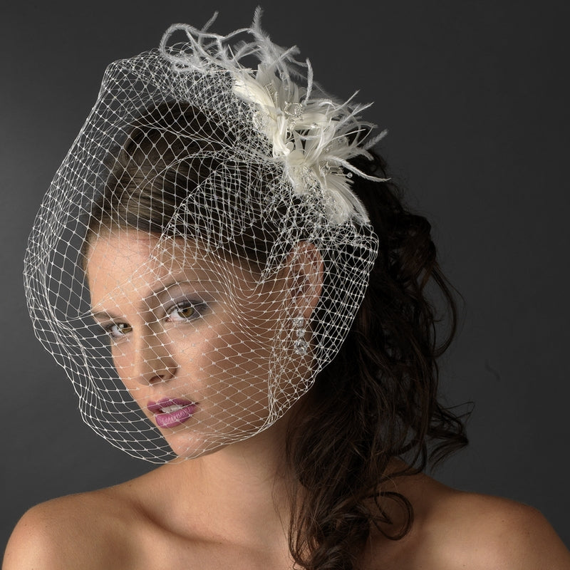Feather Fascinator Flower with Crystal & Rhinestone Detailing & Russian Birdcage Blusher Veil White