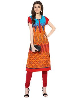 Mytri Women's Multi Rayon Printed Straight Kurta $ 9000491-MULTI
