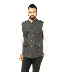 Singhal Fashion Jute Silver Color Sleeveless Hunting Jacket