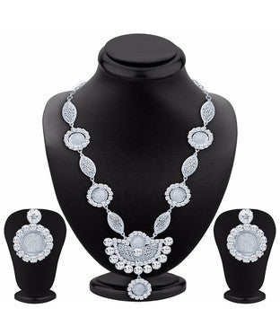 Sukkhi Eye-Catchy Rhodium Plated AD Necklace Set