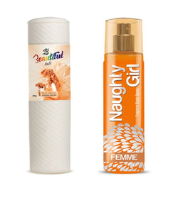 BEAUTIFUL TALC 250gm PLEASING & Naughty Girl FEMME 135 ml (Set of 2 for Women)