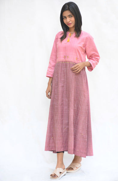 Pink Khadi Cotton High Slit Bird Tunic $ IWK-00600