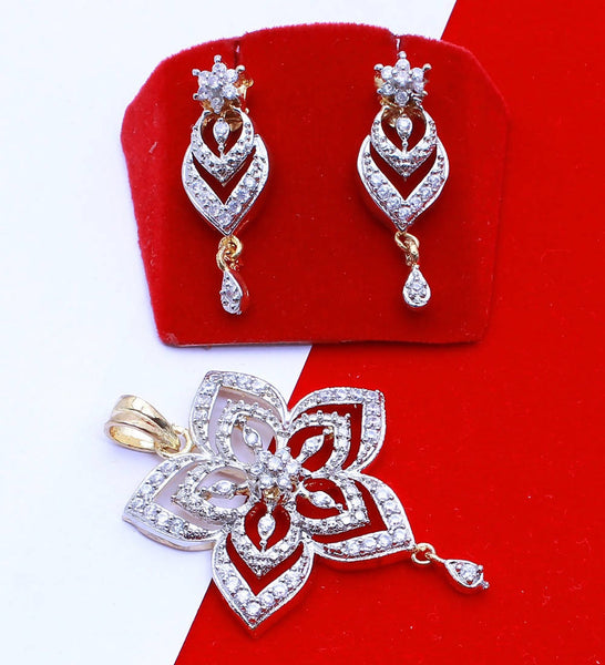 Ankita Fashion Gold Plated American Diamond AD Flower Pendant set $ AF78861231