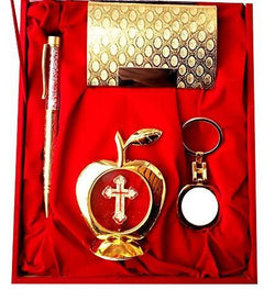 Gold Plated Ball Pen with Visiting Card Holder with Key Ring and Apple Shape Jesus Christ God Idol Car Dashboard and Home Temple with Velvet Box $ IGSPBR101043