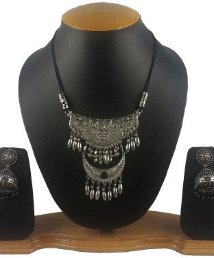 Aradhya Sterling Silver Jewel Set (Silver, Black)