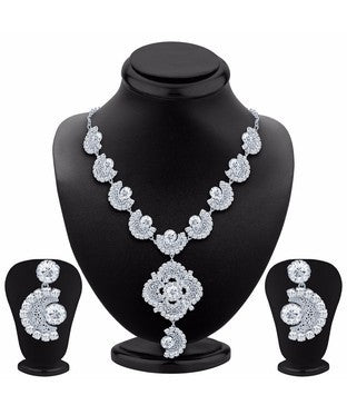 Sukkhi Bewitching Rhodium Plated AD Necklace Set