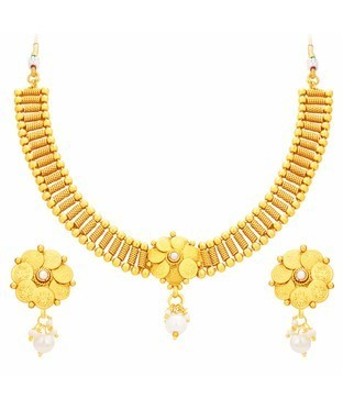 Sukkhi Charming Laxmi Temple Coin Gold Plated Necklace Set For Women