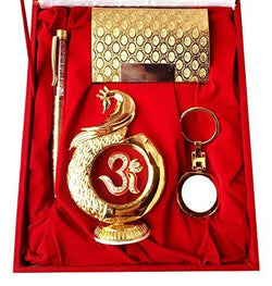 Gold Plated Ball Pen with Visiting Card Holder with Key Ring and Peacock Shape Om Symbol Car Dashboard and Home Temple with Velvet Box $ IGSPBR101055