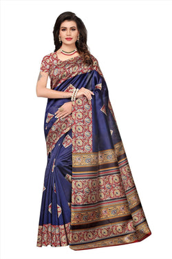 BL Enterprise Women's Bhagalpuri Cotton Silk Kalamkari Blue Color Saree With Blouse Piece $ BLLB-21