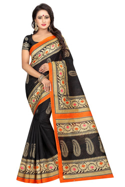16TO60TRENDZ Black Color Printed Bhagalpuri Silk Saree $ SVT00483