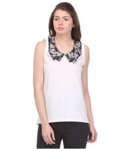 Glam a gal white and black s/l top