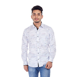 EVOQ White Printed Shirt With Contrasting Collar Band And Inner Button Placket-White Spark_White